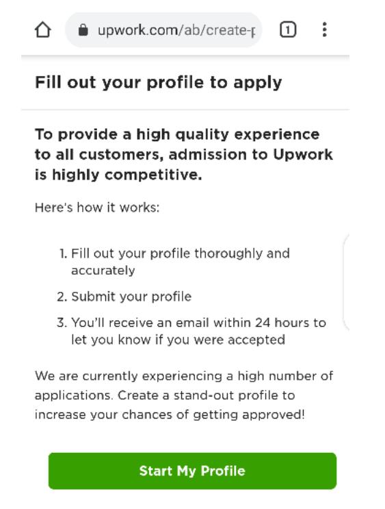 Upwork profile verification