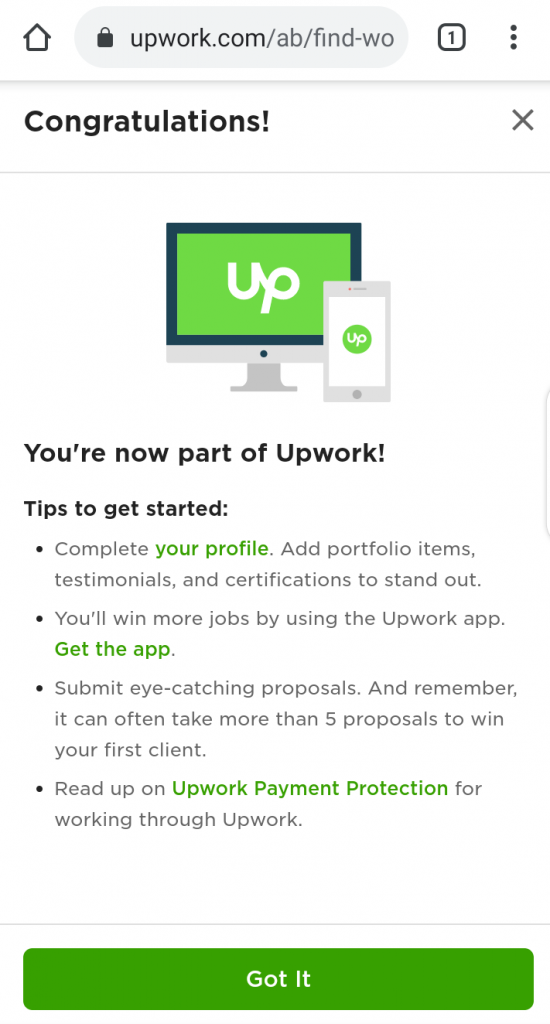 Upwork Profile for beginners account
